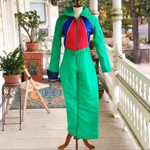 Vintage 70s/80s Skyr Color Block Full Snowsuit